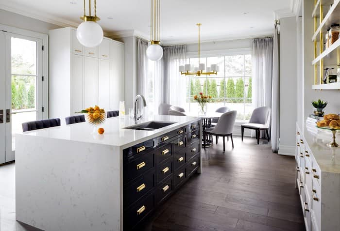 waterfall quartz kitchen island