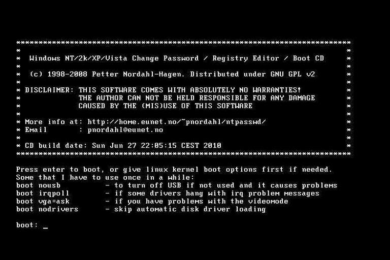 Offline NT Password and Registry Editor