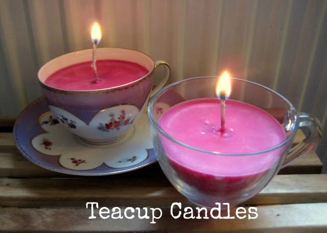 A tea cup candle