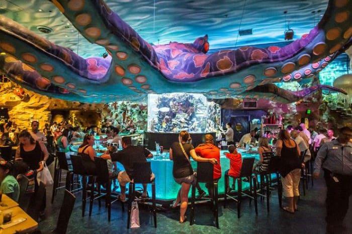 Aquarium café interior décor