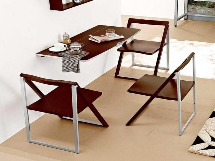 Wall Attached Dining Table and chairs