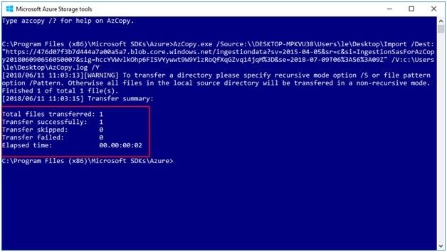 ImportOutlook PST file using the AzCopy Tool