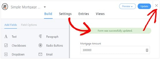Mortgage Calculator Form fields