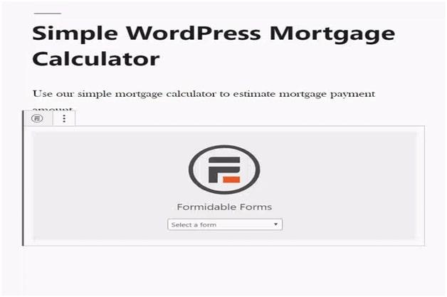 Simple WordPress Mortgage Calculator 1