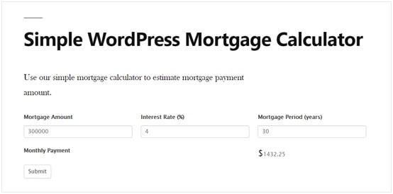Simple WordPress Mortgage Calculator