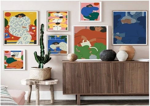 Create a gallery wall of art work or personal treasures