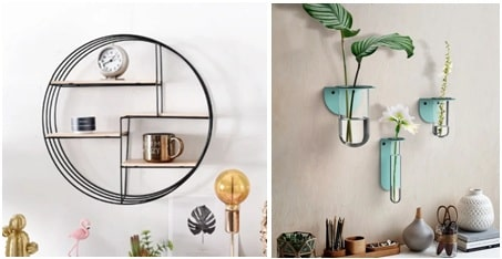 Use shelves and wall planters as decor