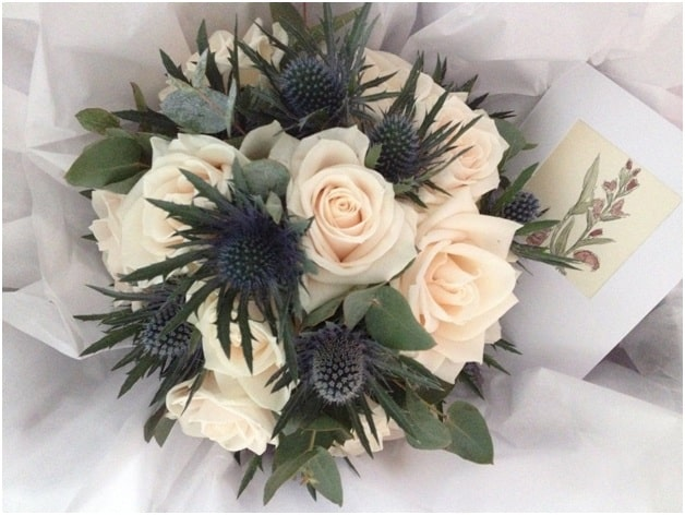 Rose and Sea Thistle Bouquet