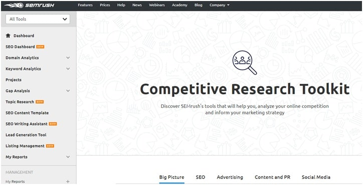 SEMrush Competitive Research
