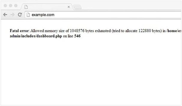memory WordPress error